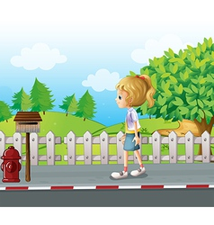 A lady walking in the street alone vector