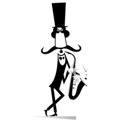 Funny in the top gentleman saxophonist isolated vector