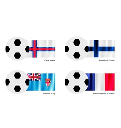 Soccer ball with faroe islands finland fiji flag vector