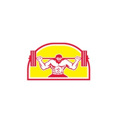 Bodybuilder lifting barbell retro vector
