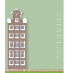Ancient building and tulips on a green vector