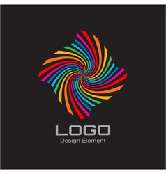 Colorful bright rainbow spiral logo vector