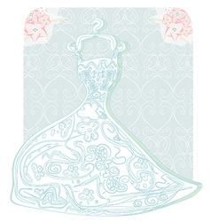 Bridal dress with floral ornament card vector