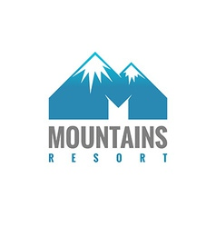 M letter mountains logo template vector