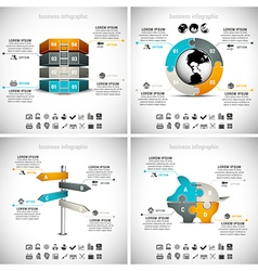 4 in 1 business infographics vector