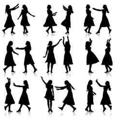 Black silhouettes of beautiful womans on white vector