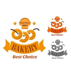 Bakery with soft sweet bagels vector