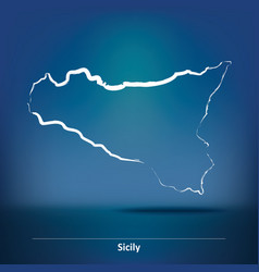Doodle map of sicily vector