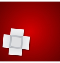 Modern open box on red background vector