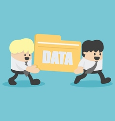 Business people transfer files data vector