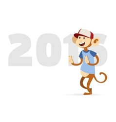 New year text and monkey design vector