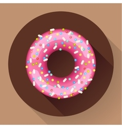 Cute sweet colorful donut icon flat designed vector
