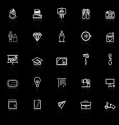 Art and creation line icons with reflect on black vector