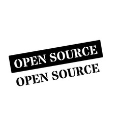 Open source black rubber stamp on white vector