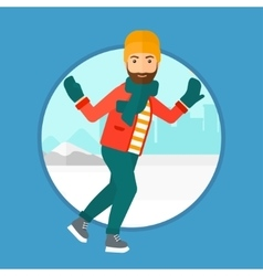 Man ice skating vector image