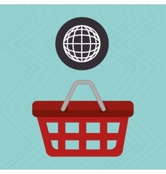 Red basket and connection global isolated icon vector