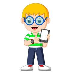 a boy using a tablet vector image vector image