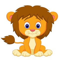 Baby lion cartoon sitting vector
