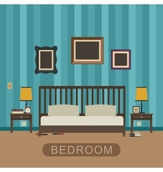 Bedroom with furniture vector image