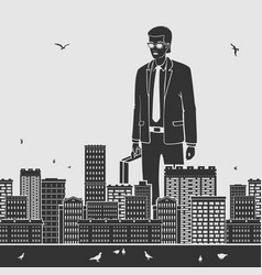 Big businessman in the city vector