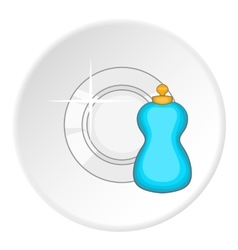 Blue bottle of dish soap and clean plate icon vector