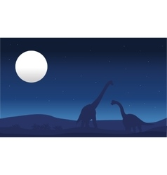 brachiosaurus and moon silhouette vector image