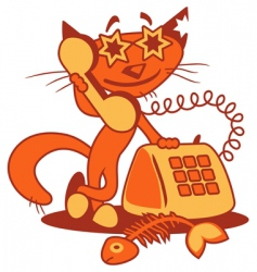 cartoon phone cat vector image