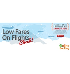 Cheap Flight For Sale 1500x600 Banner vector image vector image