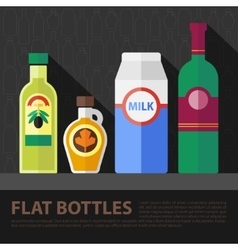 color flat bottle set vector image vector image