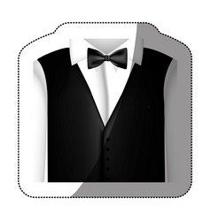 Color sticker shirt with bow tie and waistcoat vector