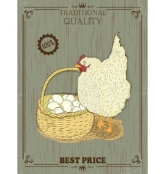 Colorful chicken with eggs vector