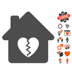 Divorce house heart icon with lovely bonus vector