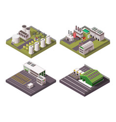 factory composition 2x2 set vector image vector image