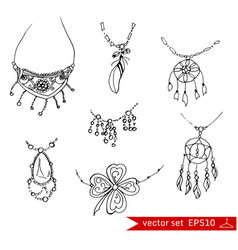 fashion set in hand drawing style vector image vector image
