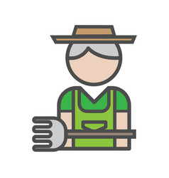 gardener avatar icon on white background vector image vector image
