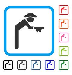 Gentleman beggar framed icon vector