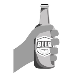 Grayscale bottles of beer in the hand icon design vector