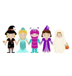 Group of girls in halloween costumes vector image
