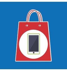 Hand holds bag gift phone design vector