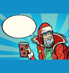 Hipster santa claus with coffee says vector