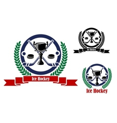 Ice Hockey emblems with trophy and wreath vector image vector image