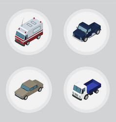 Isometric automobile set of auto suv first-aid vector
