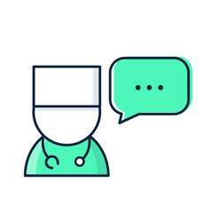 Medical doctor with speech bubble vector