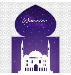 Mosques silhouette on purple night background vector