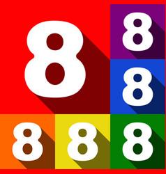 Number 8 sign design template element set vector