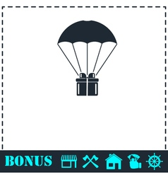 Parachute gift box package icon flat vector