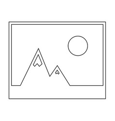Picture of mountains and sun icon the black color vector