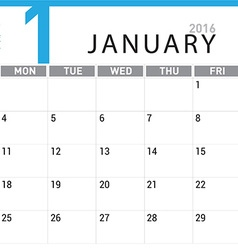 planning calendar January 2016 vector image vector image