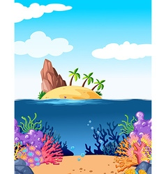 Scene with island and coral underwater vector