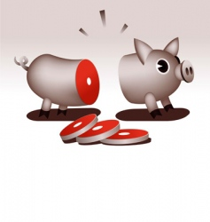 sliced up pig vector image